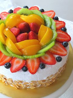 "Fresh fruit cake      Basic Plain Sponge Cake     (recipe source: by Sonia aka Nasi Lemak Lover)     *make a 7"" round cake (with removable bottom cake pan)      4 egg yolks (large)     IMG_7169 copy     20g caster sugar     50g corn oil     60g milk     1/2tsp vanilla extract ( I use Cointreau )     90g cake flour      4 egg white (large)     1/4tsp lemon juices or 1/4tsp cream of tartar     60g caster sugar      Method     1. Lightly whisk egg yolk with sugar.     2. Add in corn oil and…"