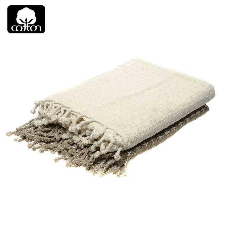 Pack of 2 Cotton Fringe Throw Ivory / Taupe 127 x 154 cm