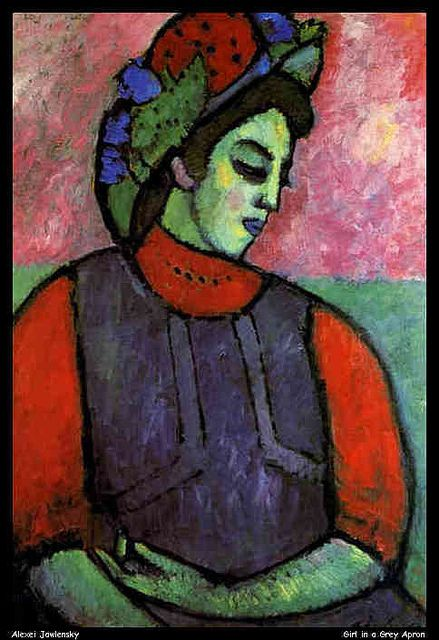 Alexej von Jawlensky (1864-1941) Reeds rond de eeuwwisseling bracht Von Jawlensky de verf in sterke tonen aan, waardoor een krachtige uitdrukking werd verkregen. Zijn verlangen om zich krachtig, emotioneel en direct uit te drukken, leidde tot een hartstochtelijk kleurgebruik. Hij is bijzonder origineel in zijn kleurschakeringen. De Russische volkskunst en de Byzantijnse religieuze iconen voeren hem naar een symbolische verheffing van de mens in zijn portretten.