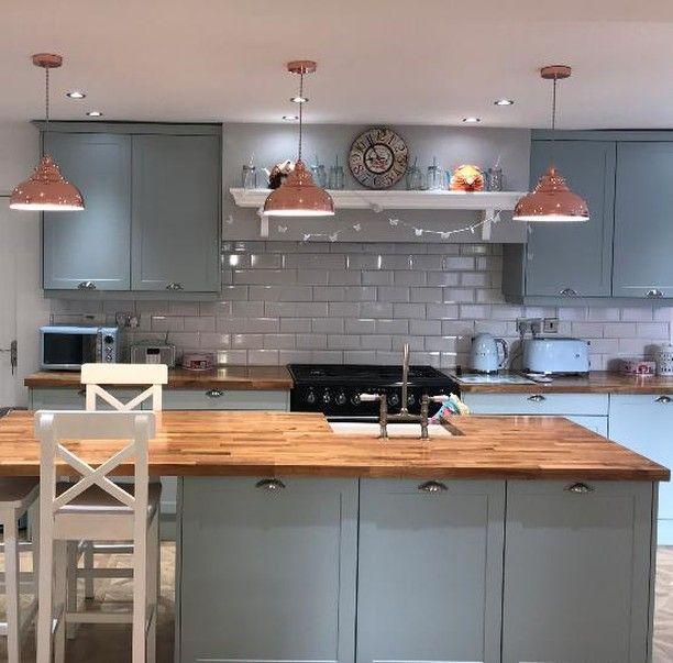 "Magnet On Instagram: ""Fresh White Tiles, Chic Wood Worktops & Sky Blue Shaker Cabinets Make Richard From … | Wood Worktop, Kitchen Remodel Small, Kitchen Renovation"