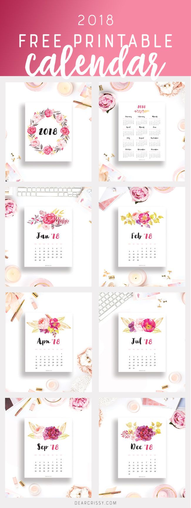 Free Printable 2018 Calendar - This beautiful floral printable calendar will help you plan and organize your new year in gorgeous style. #calendar #freeprintable #printable #2018