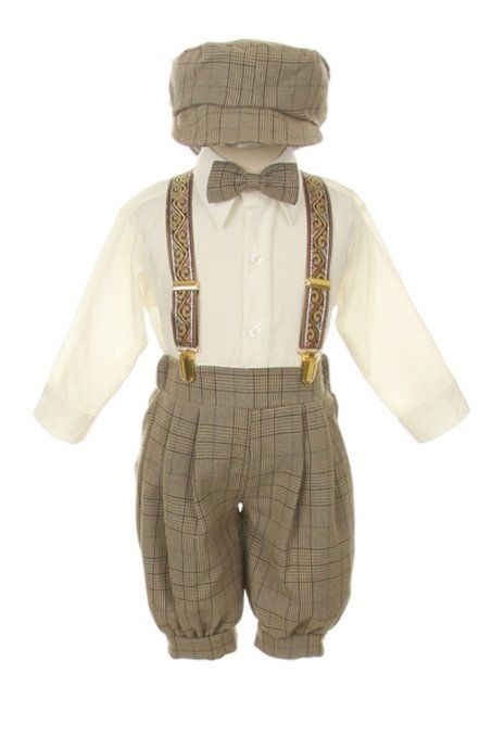 Amazon.com: Vintage Dress Suit-Bowtie,Suspenders,Knickers Outfit Set for Baby Boys & Toddler, Brown Plaid 18M: Clothing