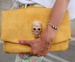 Fancy - Suede Skull Clutch