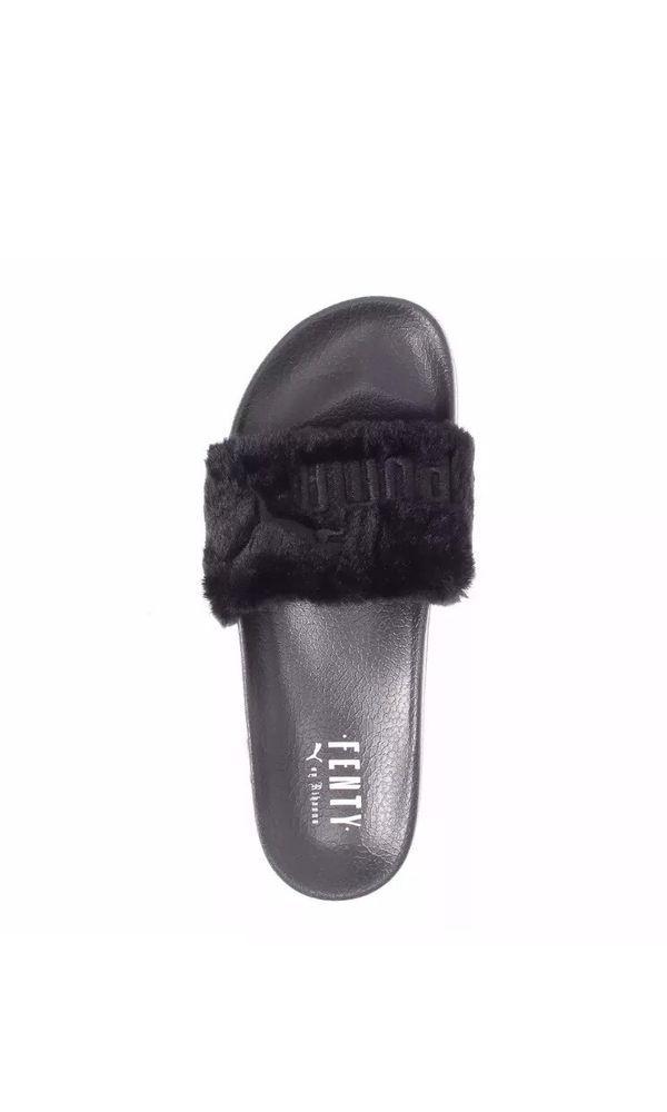 """Rihanna x puma """"leadcat fenty"""" fur slides size 6.5 black #PUMA #Sliders"""