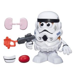 Mr. Potato Head Spudtrooper Includes 1 potato body, 1 base, 1 mask, and 11 accessories.