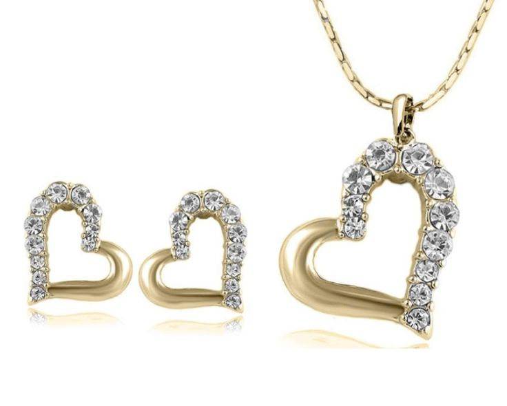 $9 for a Stunning Multi Sized Element Heart Necklace & Earrings Set