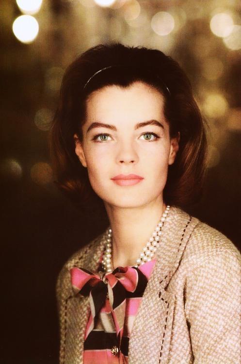 Portrait of Romy Schneider in Chanel, 1963.