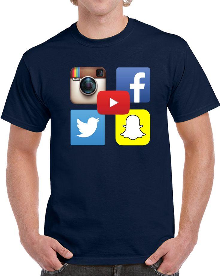 Social Media Network Icons Instagram Youtube Facebook Twitter Snapchat  T Shirt