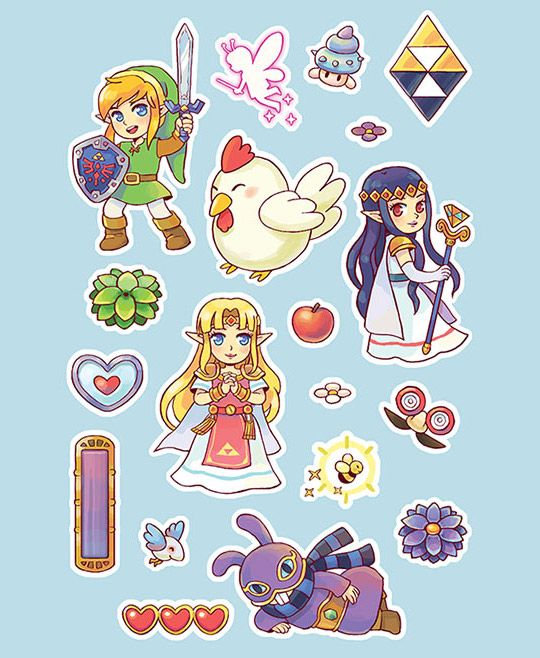 tinycartridge:  Zelda: A Link Between Worlds for $29.66⊟This is the cheapest price I've seen for the 3DS game at Amazon! You can spend those savings on something likethis $5 sticker sheet pictured above instead. Artist Mojgon is also selling a poster for The Legend of Zelda: A LInk Between Worlds (spoilers in the image), as well as other adorable gaming items at her Storenvy shop. Thanks to @Wario64 for the heads-up on the sale!PREORDER Zelda: Tri Force Heroes, Link Wind Waker Nendoroid