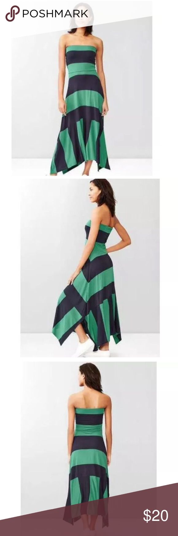 Gap Green & Navy Striped 4in1 Trapeze Maxi Dress GAP NEW STRIPED 4 IN 1 MAXI DRESS Green/Navy  Condition: New; inside label is marked to prevent retail returns  Details: A dress with a twist. Wear it 4 ways: Strapless maxi, strapless midi, strapless mini, or foldover maxi skirt. Smooth, stretch jersey with contrast top. Strapless. Easy, straight silhouette can be styled four ways. GAP Dresses Strapless