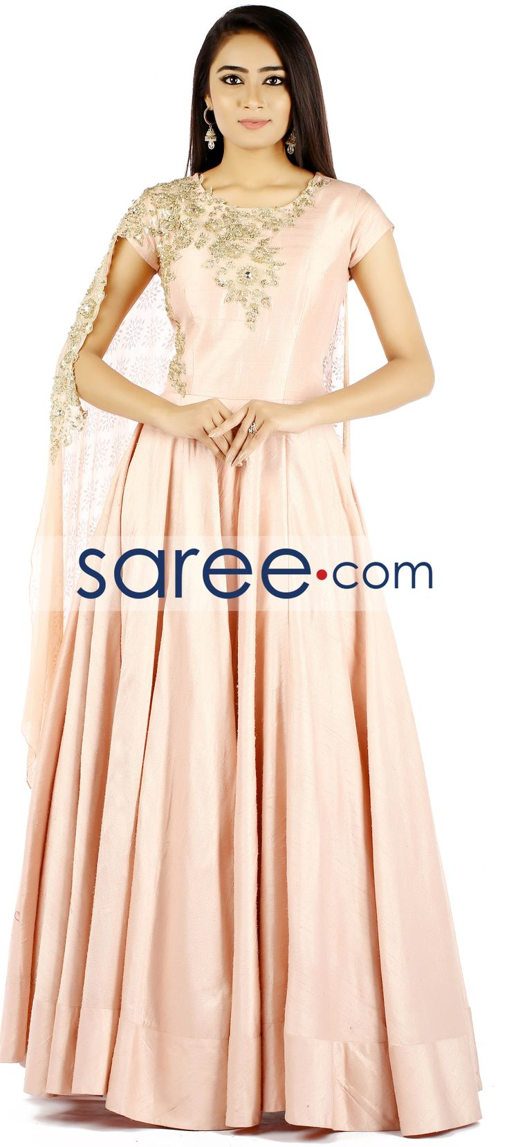 PEACH RAW SILK GOWN WITH STONE WORK   #Gown #PartywearGown #ReceptionGown #IndoWestern #IndoWesternGown