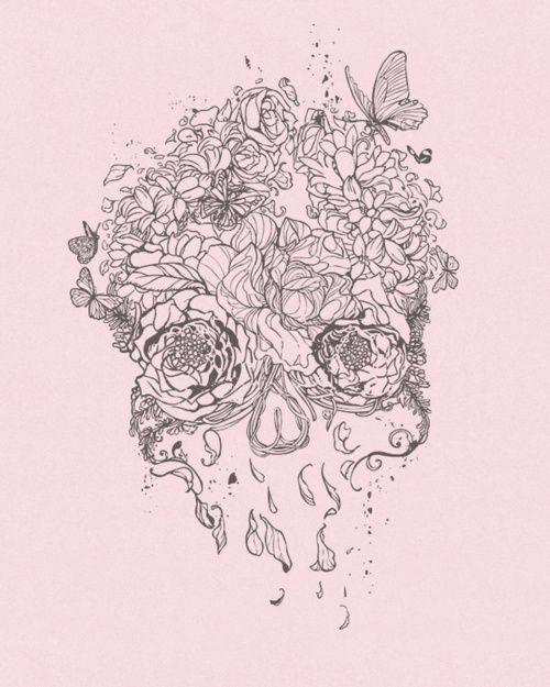 skull artTattoo Ideas, Sugar Skull Tattoo, Tattoo Pattern, Art Flower, Flower Skull, Floral Skull, Tattoo Design, A Tattoo, Skull Art