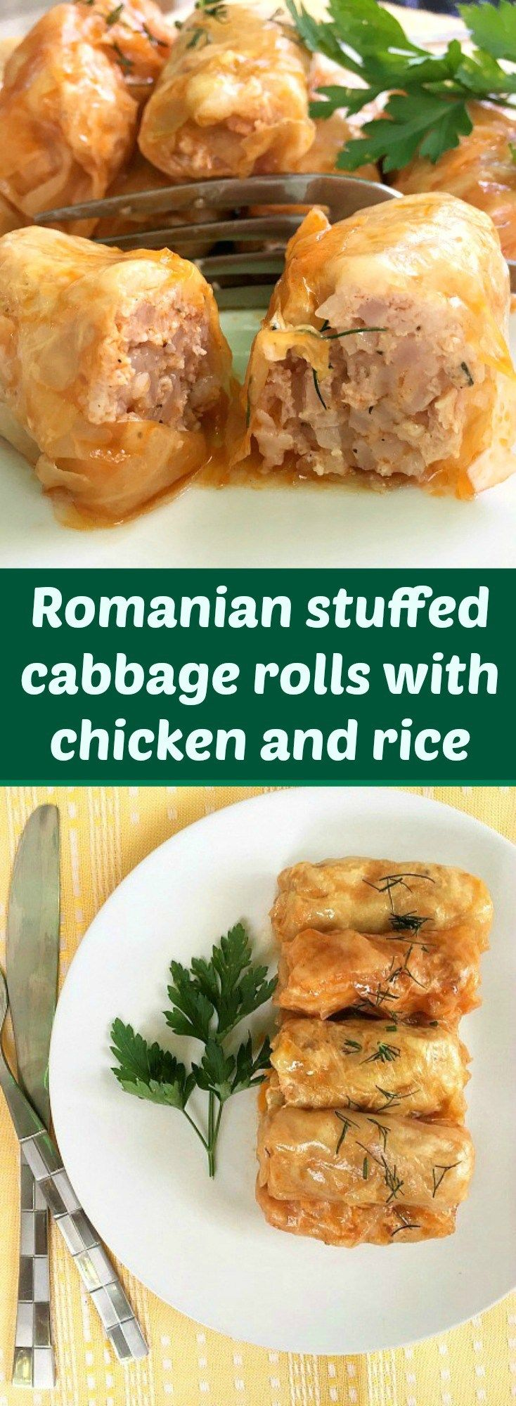 Romanian stuffed cabbage rolls with chicken and rice or sarmale, the country's national dish. Usually served with warm polenta, sour cream and green chilli peppers.