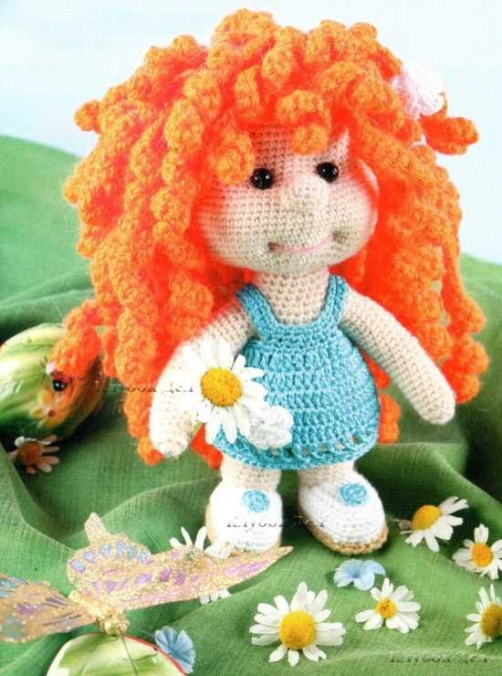 Crochet Hair On Dolls : Doll with red curly hair (free pattern in russian): Crochet Toys Dolls ...