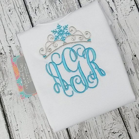 Personalized Elsa Monogram With Frozen Crown Applique Shirt or Onesie!