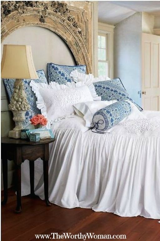 Soft Hues Of Blue With Chic White Bedding For Your
