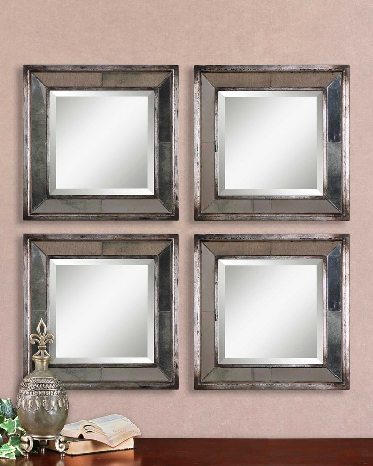Davion Squares Silver Mirror Set/2