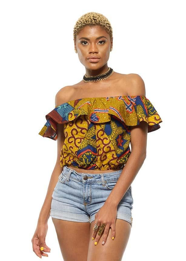 Dunni African Print Off the Shoulder Ruffle Top (Multipattern)