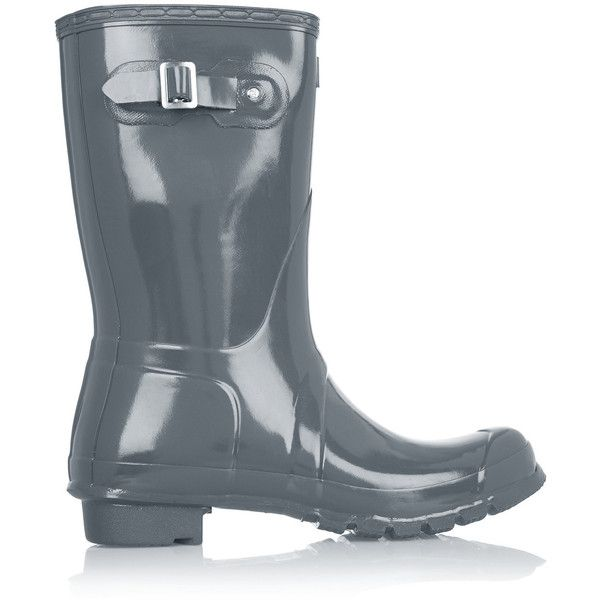 Hunter Original Gloss Short Wellington boots (4.170 RUB) ❤ liked on Polyvore featuring shoes, boots, grey, rubber rain boots, grey rain boots, grey boots, slip on boots and pull on boots