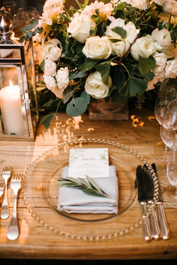 An Intertwined Event: Enchanted Indoor Wedding at Montage Greenery, Lantern, Orb, Wedding Reception, Tablescape, Chargers, White Florals