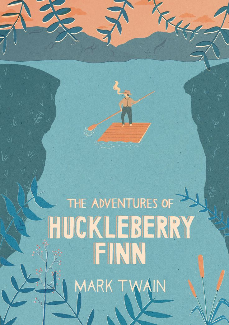 Mark Twain – The adventures of Huckleberry Finn, book cover.