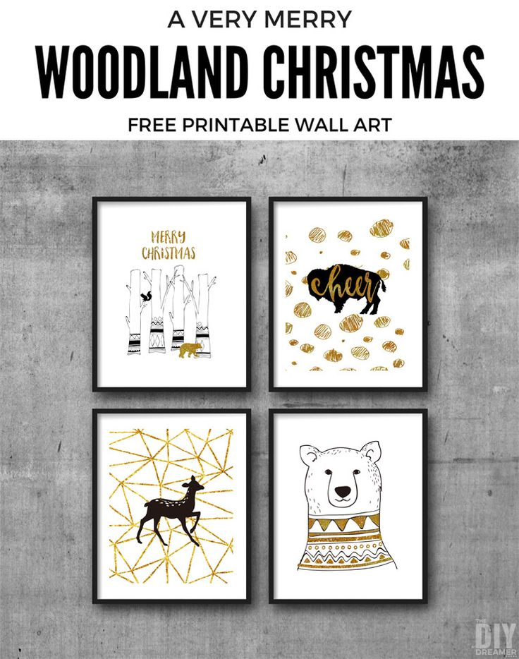 Woodland Christmas Free Printable Wall Art. These printables are the perfect way to decorate your home for Christmas. P.S. There are matching gift tags too!