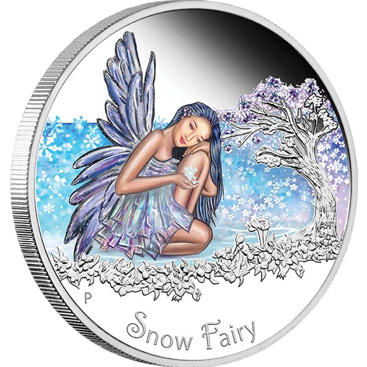 Snow Fairy 2015 1/2oz Silver Proof Coin | The reverse of the coin features a coloured Snow Fairy kneeling next to a cherry blossom tree, holding a snowflake in her hand. The inscription 'Snow Fairy' and The Perth Mint's traditional 'P' mintmark also appear in the design.