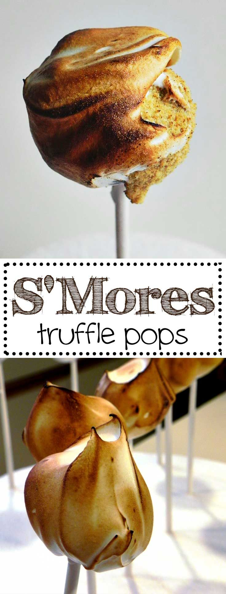 This recipe for S'Mores Truffle Pops will make you the star of the party! They are everything you remember from around the campfire in a tiny bite sized dessert sure to wow your guests! via @karascakes