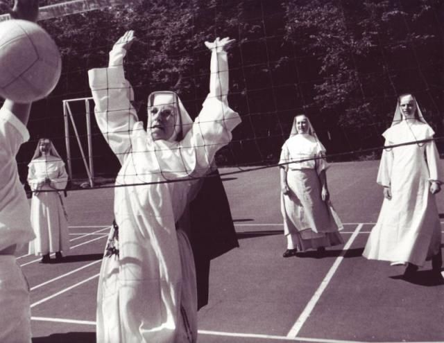 WeHaKee Camp for Girls: Nuns playing volleyball in 1963.