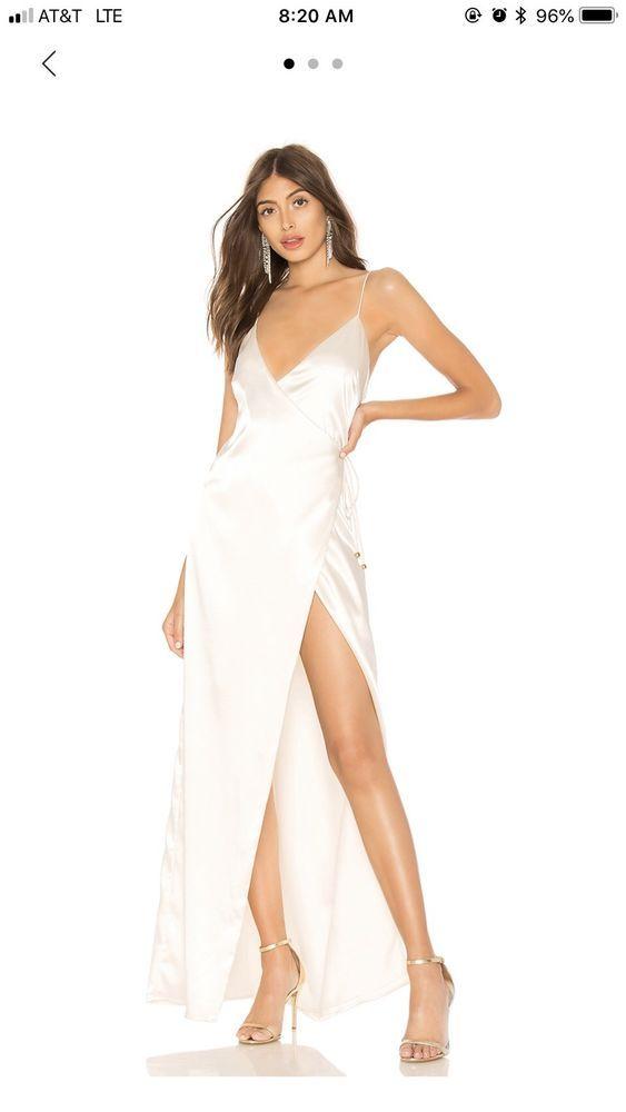 c5067eb62ba Womens Ivory Satin Sleeveless Maxi Dress With High Slit  fashion  clothing   shoes  accessories  womensclothing  dresses