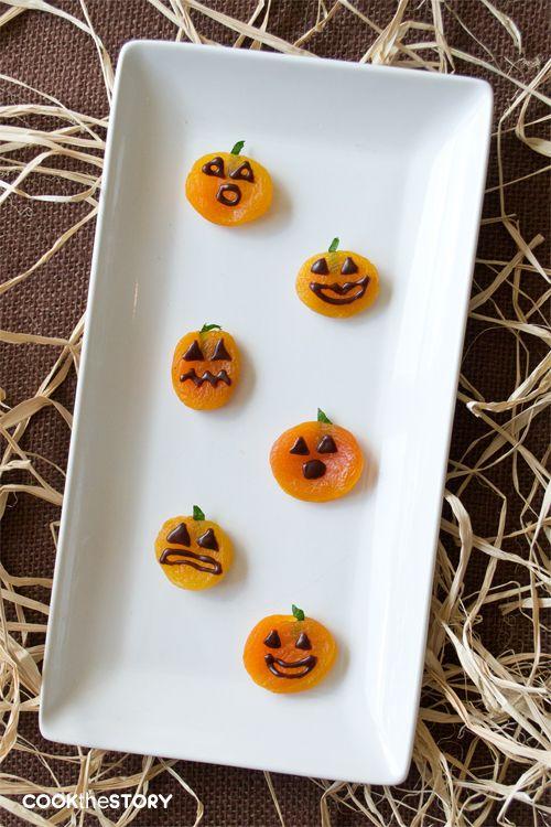 apricot jack o lanterns a healthy classroom snack for halloween - Healthy Fun Halloween Snacks