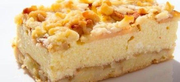 Strúhaný koláč s tvarohom a s jablkami