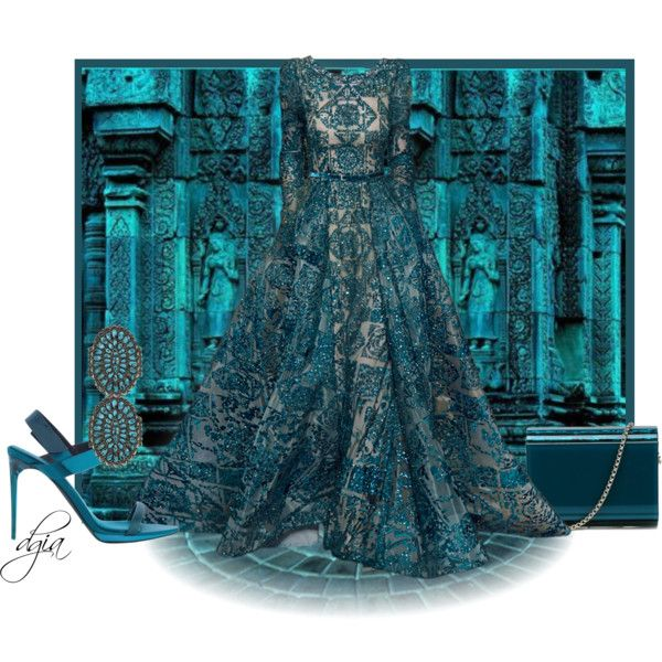 Elie Saab gown by dgia on Polyvore featuring Burberry, Jimmy Choo, Elie Saab, women's clothing, women's fashion, women, female, woman, misses and juniors
