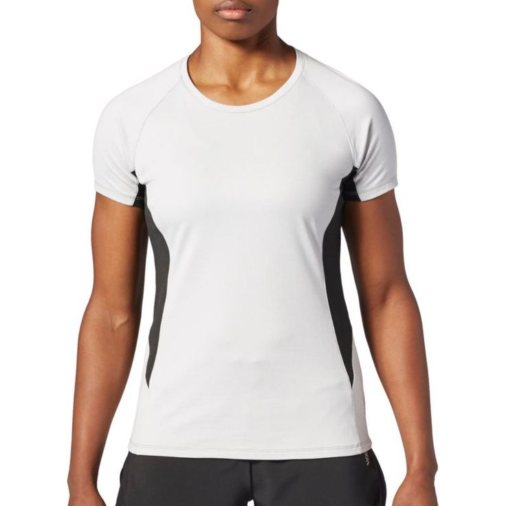Second Skin Women's Stripe Short Sleeve Training Top, Size: Medium, Gray