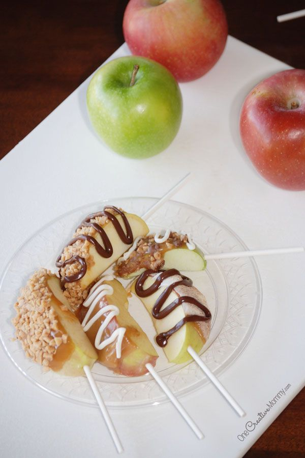 Caramel Apple Pops: All the flavor of a caramel apple without the mess. These fancy apple slices on a stick are