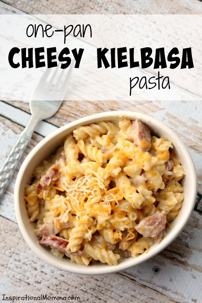 Ready in just 20 minutes, this One-Pan Cheesy Kielbasa Pasta will make everyone in your family smile! Simple and delicious!