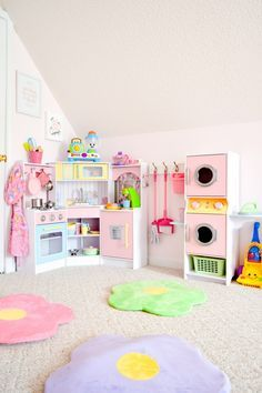 girls playroom | girls kitchen | girls pretend | imagination | kids room | playroom | dream toys | toy organization | laundry | washer | dryer | toy storage | room makeover | toddler girl | preschool | toy