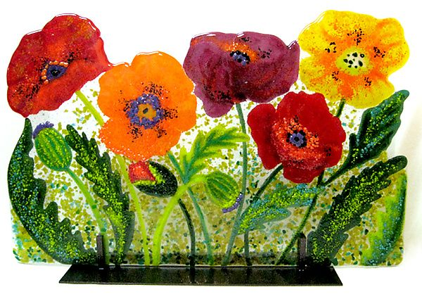 """art & glass - """"Wild Poppies"""" - Art Glass Sculpture - created by Anne Nye  - via artfulhome.com"""
