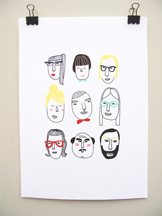 """kims little monsters: print """"Beatrice and the gang"""""""