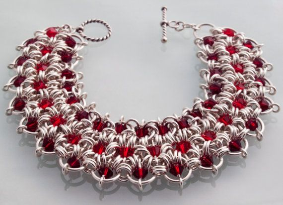 Silver chainmaille bracelet with Swarovski crystals