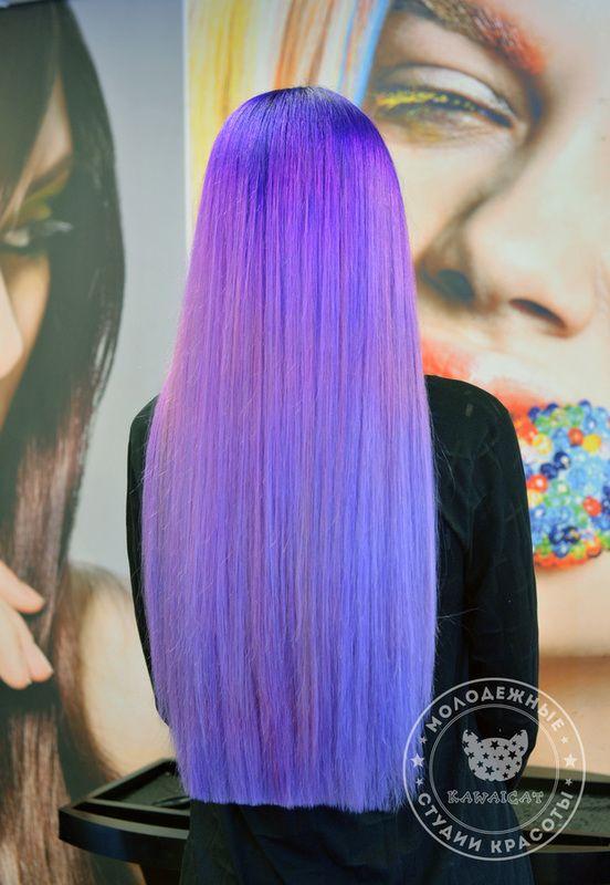 Фиолетовые волосы пастельного цвета мы делаем красителем crazy color на предварительно осветленные волосы