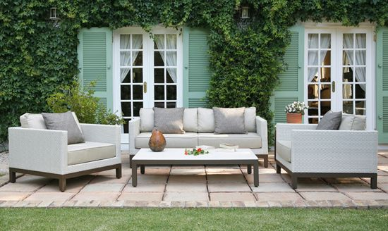Harmony Classic Lounge Suite. Powder Coated Aluminum, UV stabilized Polycane and Fabric. Outdoor Patio Furniture. Removable Cushions. Outdoor Covers Available.Customizable Frame, Fabric and Polycane Colors.