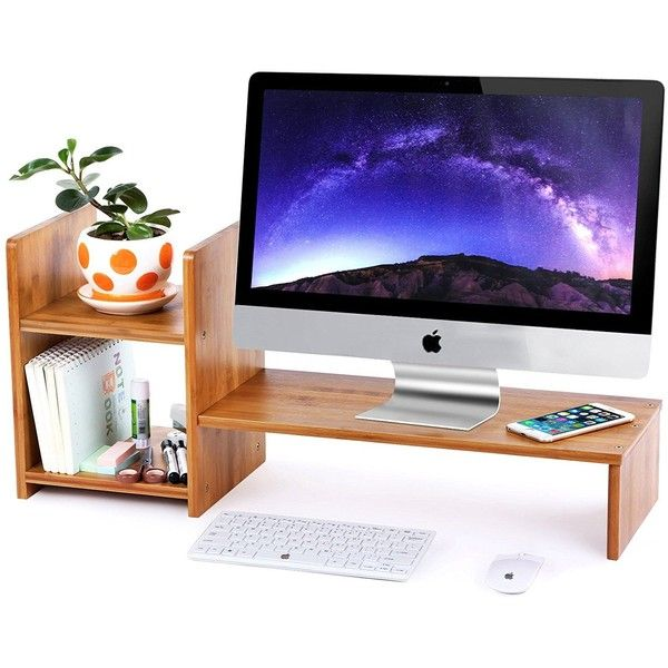 SONGMICS Bamboo Monitor Stand Riser with 2-tier Desktop Storage... ($29) ❤ liked on Polyvore featuring home, home decor and office accessories