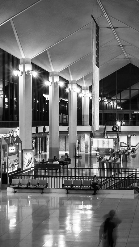 The ticketing level of the Memphis International Airport in Tennessee is nearly deserted at night, unlike during daytime hours when the area is always bustling with activity. Read all about it at Burnsland!