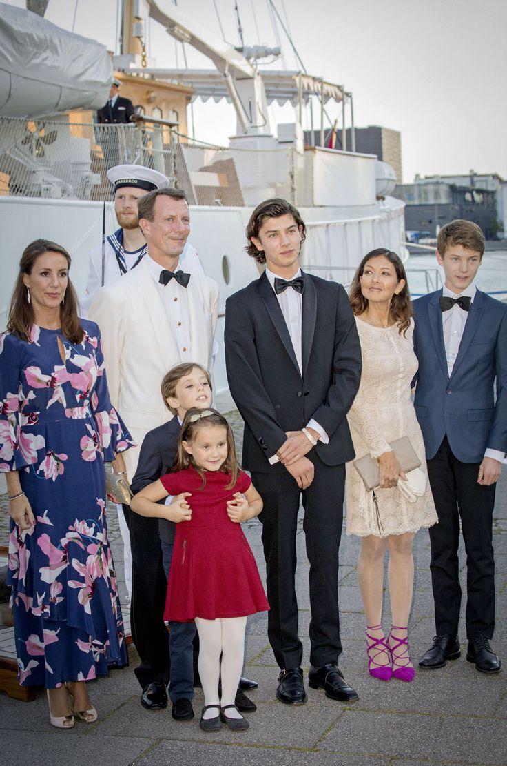 Princess Marie of Denmark, Prince Joachim of Denmark, Prince Henrik of Denmark, Princess Athena of Denmark, Prince Nikolai of Denmark, Countess Alexandra of Denmark and Prince Felix of Denmark attend the 18th birthday celebration of Prince Nikolai at royal ship Dannebrog on August 28, 2017 in Copenhagen, Denmark.