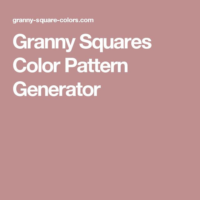 Granny Squares Color Pattern Generator