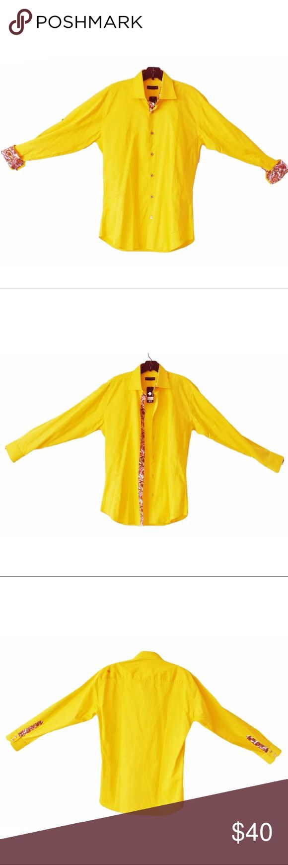 "JARED LANG Golden Yellow Contrasting Cuffs Placket Jared Lang New with tags, 100% cotton shirt by Jared Lang. Gorgeous golden yellow with colorful placket and cuffs. Long sleeves can convert to button up sleeves. Size Medium. Approximate measurements taken flat across: Shoulder to Shoulder: 20"" Underarm to Underarm: 21.5"" Sleeve Length: 24.5"" Length: 32.5"" (Measured on back side, from top of collar to bottom of hem) No Trades Jared Lang Shirts Casual Button Down Shirts"