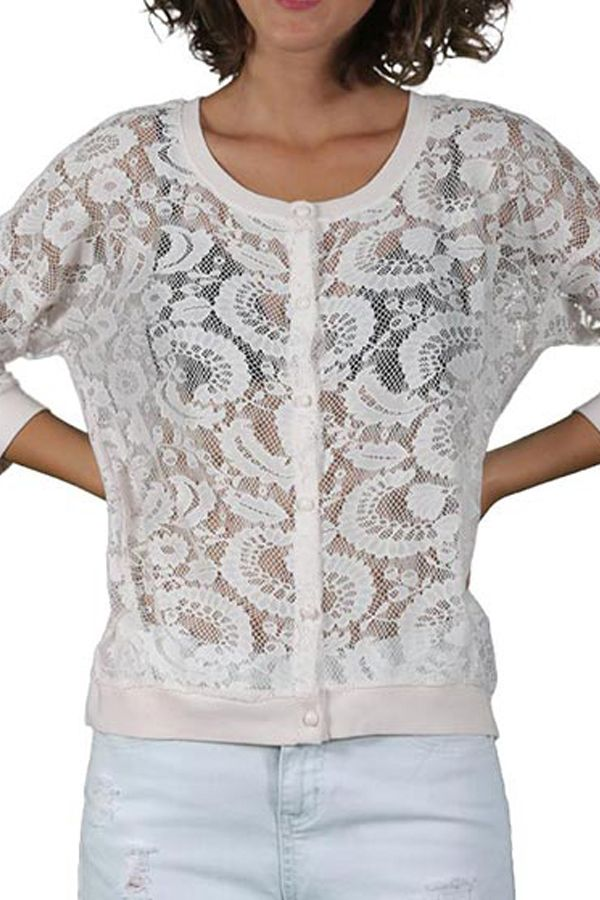 Cardigan Dama ONLY Litra Lace Cloud Dancer