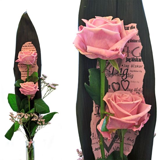http://holmsundsblommor.blogspot.se/2014/02/rosa-karleksord.html. Valentine´s day bouquet with roses Heaven (Barbie) and a piece of paper with text I love you
