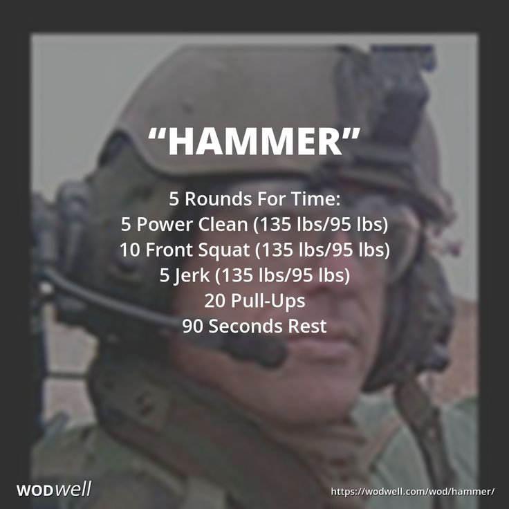 """Hammer"" WOD - 5 Rounds For Time: 5 Power Clean (135 lbs/95 lbs); 10 Front Squat (135 lbs/95 lbs); 5 Jerk (135 lbs/95 lbs); 20 Pull-Ups; 90 Seconds Rest"